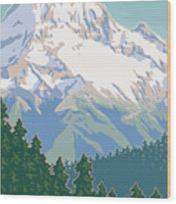 Vintage Mount Hood Travel Poster Wood Print