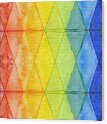 Watercolor Rainbow Pattern Geometric Shapes Triangles Wood Print