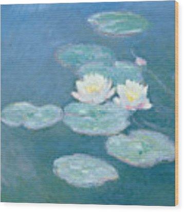 Waterlilies Evening Wood Print by Claude Monet