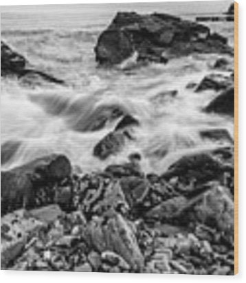 Waves Against A Rocky Shore In Bw Wood Print by Doug Camara