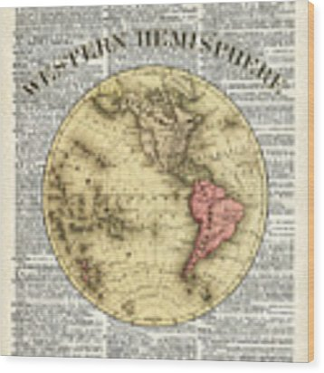 Western Hemisphere Earth Map  Wood Print by Anna W