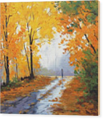 Wet Autumn Morning Wood Print by Graham Gercken