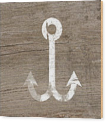 White And Wood Anchor- Art By Linda Woods Wood Print