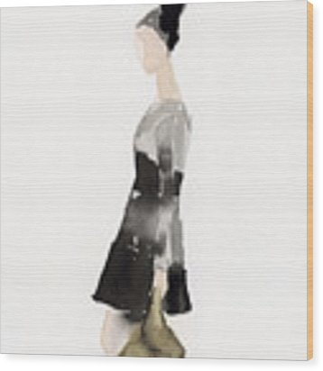 Woman In A Black And Gray Dress Fashion Illustration Art Print Wood Print by Beverly Brown