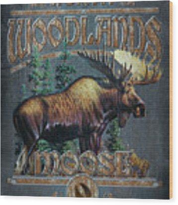 Woodlands Moose Sign Wood Print by JQ Licensing