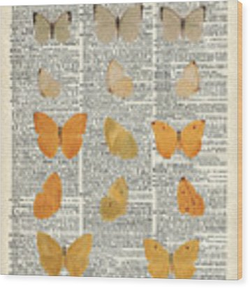 Yellow Butterflies Over Dictionary Book Page Wood Print