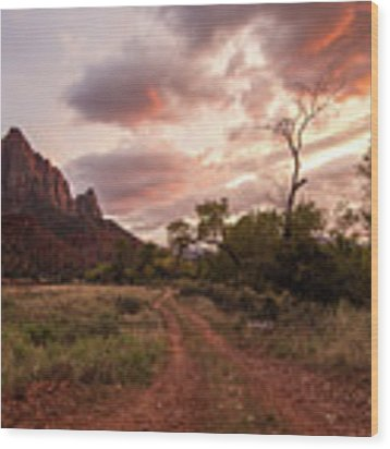 Zion Sunset Wood Print by Wesley Aston