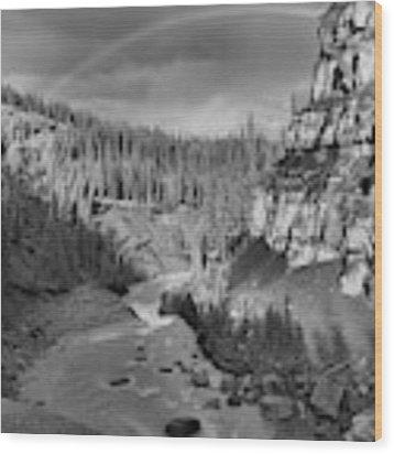 Nordegg Bighorn Canyon Rainbow Black And White Wood Print by Adam Jewell
