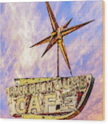 Ranch House Cafe Wood Print by Lou Novick