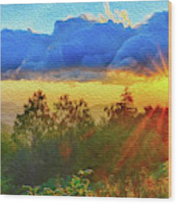 Sunrise On Mount Mitchell Digital Painting Wood Print by Alex Grichenko