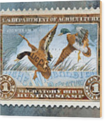1934 Hunting Stamp Collage Wood Print by Clint Hansen