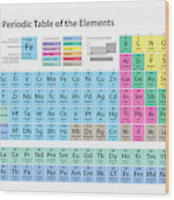 Periodic Table Of Elements Wood Print by Michael Tompsett