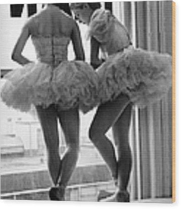 Ballerinas Standing On Window Sill In Wood Print by Alfred Eisenstaedt