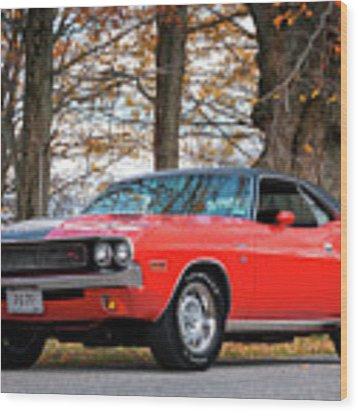 70 Dodge Challenger Rt - Driver Side Wood Print by Expressive Landscapes Fine Art Photography by Thom