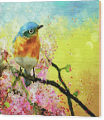 A Bluebird On The Redbud Wood Print by Lois Bryan