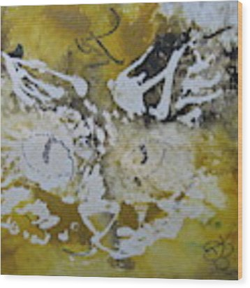 Abstract Cat Face Yellows And Browns Wood Print by AJ Brown
