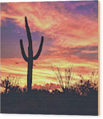 An Arizona Sunset Wood Print by Chance Kafka