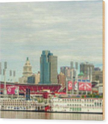 Baseball And Boats In Cincinnati # 2 Wood Print by Mel Steinhauer