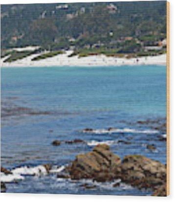 Beach View From Carmel Bay Wood Print by Susan Wiedmann