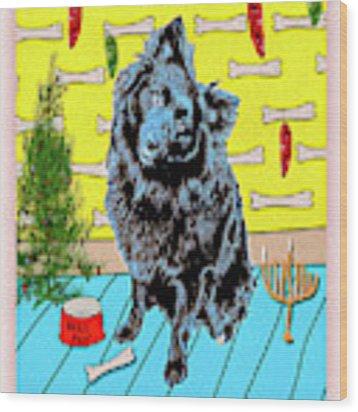 Bear Paw Holiday Wood Print by Lou Novick