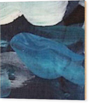 Blue Fish Wood Print by Maria Langgle