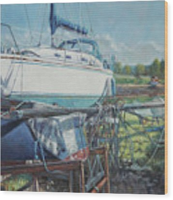 Boat Out Of Water With Dumped Parts At Marina Wood Print by Martin Davey