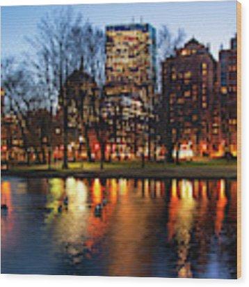Boston Reflections - Public Garden Wood Print by Joann Vitali