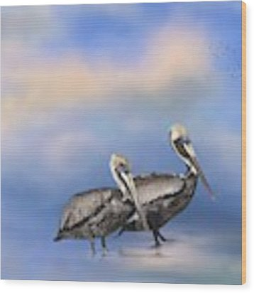 Brown Pelicans At The Shore Wood Print by Kim Hojnacki