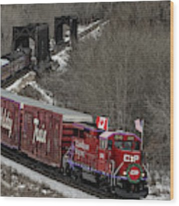 Canadian Pacific Holiday Train 2018 II Wood Print by Brad Allen Fine Art