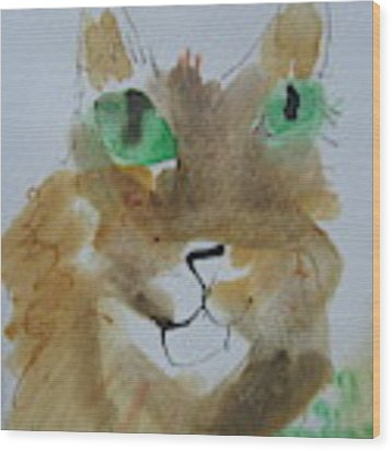 Cat Face Yellow Brown With Green Eyes Wood Print by AJ Brown