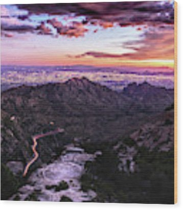Catalina Highway Sunset And Tucson City Lights Wood Print by Chance Kafka