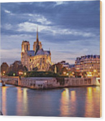 Cathedral Notre Dame And River Seine Wood Print by Brian Jannsen