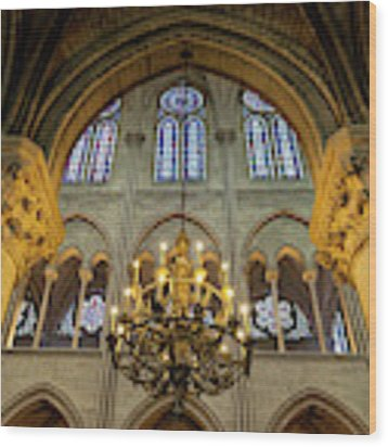 Cathedral Notre Dame Chandelier Wood Print by Brian Jannsen