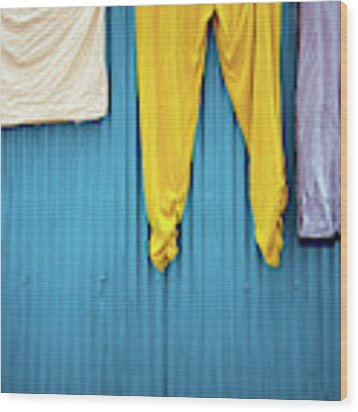Colorful Laundry Wood Print by Nicole Young
