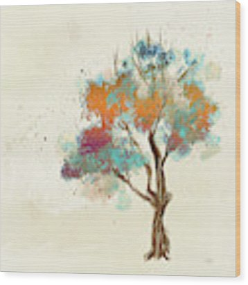 Colorful Tree Wood Print by Lois Bryan