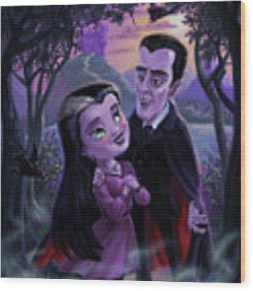 Count And Countess Dracula During Halloween Evening Wood Print by Martin Davey