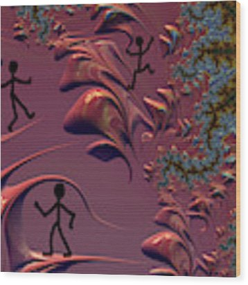 Frolicking In Fractal Land Wood Print by Shelli Fitzpatrick