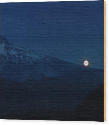 Full Moon On Mt. Hood Flanks Wood Print by Dee Browning