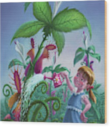 Girl Watering Horror Plants Wood Print by Martin Davey