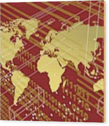 Golden Worlmap Over Tech And Redish Background. Wood Print by Alberto RuiZ