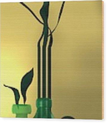 Green Still Life Over Golden Background Wood Print by Alberto RuiZ