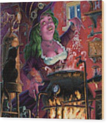 Happy Steam Punk Witch Wood Print by Martin Davey
