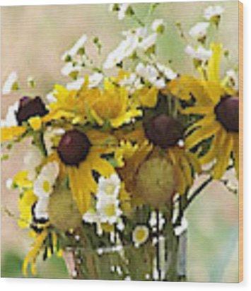 Impressionist Wildflower Arrangement Wood Print by Shelli Fitzpatrick