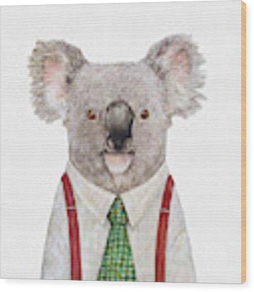 Koala Wood Print by Animal Crew