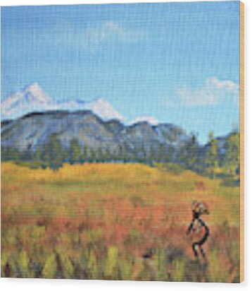 Kokopelli And The San Francisco Peaks Wood Print by Chance Kafka