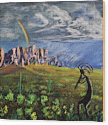 Kokopelli And The Superstition Mountains Wood Print by Chance Kafka