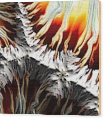 Lava Fire And Ice Fractal Abstract Wood Print by Rose Santuci-Sofranko