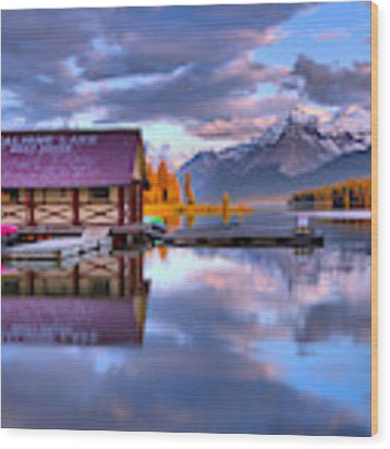 Maligne Lake Pine Clouds And Golden Glow Wood Print by Adam Jewell