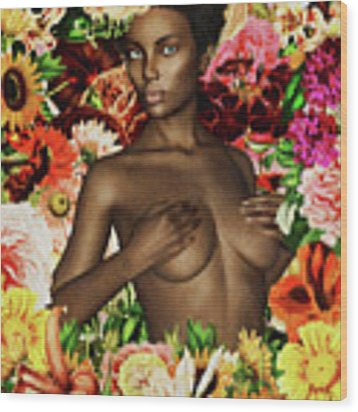 Naked African Woman Surrounded By Flowers Wood Print by Jan Keteleer