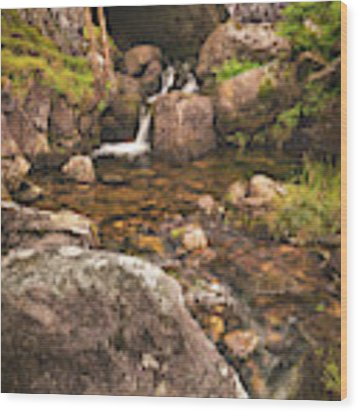 Nant Gaws Waterfall And Old Stone Bridge Wood Print by Elliott Coleman